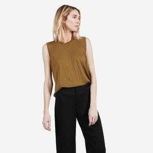Everlane Luxe Wool Sleeveless Sweater Olive Brown